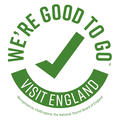 Icon with green tick and text 'We're good to go; Visit England'