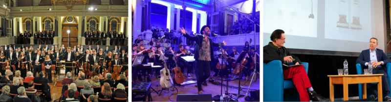 Collage of three photos of events at the Sheldonian Theatre: a large orchestra standing for applause; a male singer performing with an orchestra; Jeff Koons sat on the stage during a live interview
